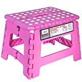 Acko Pink 11 Inches Non Slip Folding Step Stool for Kids and Adults with Handle, Holds up to 250 LBS