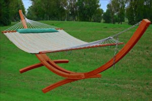 Deluxe Hammock - Quilted Hammock With Arc Wood Stand 14