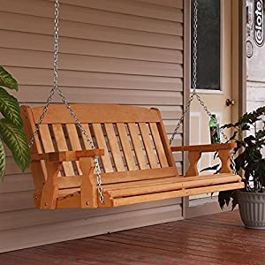 Amish Mission 5ft. Treated Porch Swing With Cupholders - Cedar Stain from PorchToPatio