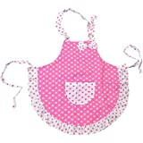 Pinzhi® Child Kids Baking Kitchen Cook Frills Polka Dots Princess Apron 2 Layers Cloth