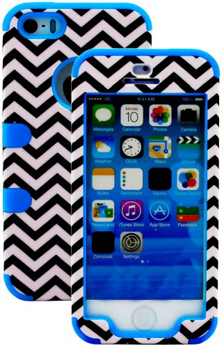 Mylife (Tm) Electric Sky Blue And Black - Chevron Series (Neo Hypergrip Flex Gel) 3 Piece Case For Iphone 5/5S (5G) 5Th Generation Itouch Smartphone By Apple (External 2 Piece Fitted On Hard Rubberized Plates + Internal Soft Silicone Easy Grip Bumper Gel