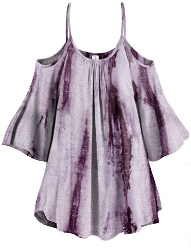3/4 Sleeve White Lined Tie Dye Cold Shoulder Tunic Tops
