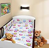 COT BUMPER 100 COTTON PADDED FOR BABY FIT COT 120x60 140x70 STRAIGHT 180cm to fit cot 120x60cm Owls White