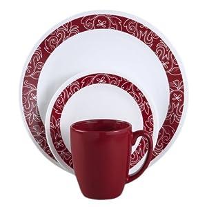 Corelle Livingware 16 piece Dinnerware Set, Service for 4, Bandhani