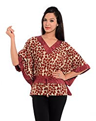 Geroo Women's Hand Block Printed Bamboo Silk Kaftan Top