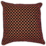Linens Limited Cut Velvet Checkers Filled Cushion, Purple, 43 x 43 Cm