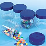 Screw Top Clear Storage Jars Plastic Kids Craft Supplies Beads Buttons Sequins (Pack of 4)