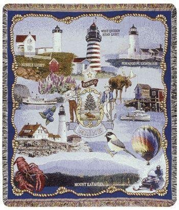 &quot;Maine Landmarks&quot; Tapestry Throw Blanket