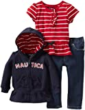Nautica Sportswear Kids Baby-Girls Infant Full Zip Hoody Knit Top Sweater And Denim Bottom