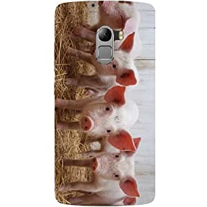 Casotec Pig Calves Design Hard Back Case Cover for Lenovo K4 Note