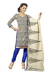 Blissta White Chanderi Printed Casual Wear Dress Material
