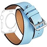 """For Apple Watch Band Series 1 Series 2,TOROTOP Blue Genuine Leather Double Tour Strap/Bracelet Replacement Wristband Smart Watch Band S/M With Adapter Clasp For Apple Watch 38mm - Fits 5.5""""-7"""" Wrist"""