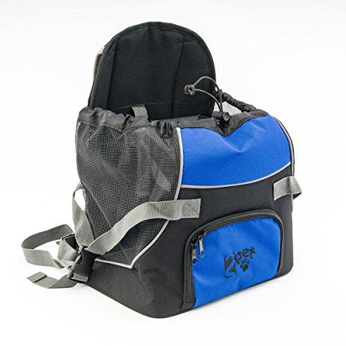 2PET Doggie Pocket, Front Nylon Pet Carrier Backpack Dog Travel Bag, for Small Dog or Cat Animal Carry Adjustable Tote Pouch – Bonny Blue