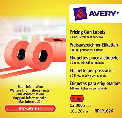Avery zweckform étiquettes rPLP1626 étiqueteuse 2 lignes, 16 x 26 mm, 10 étiquettes, 12000 rouleaux/rouge
