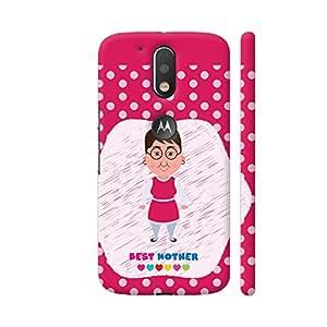 Colorpur Best Mother On Pink Polka Dots Artwork On Motorola Moto G4 / Moto G4 Plus Cover Cover | Artist: Designer Chennai
