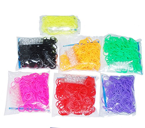 Blackcell 4800 pc Rubber Band Refill Mega Value Pack with Clips (Rainbow Colors - 600 each of 8 Assorted Color) - 100% Compatible with all Looms - 1