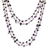 """Amelia"" 2-Strand Amethyst and Freshwater Cultured Pearl Rope Necklace Earrings Set (Silver, 40"")"
