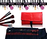 FASH Professional Quality 2012 Series Cosmetic Brush Set with Faux Leather Pouch, Goat and Raccoon, 28-Piece