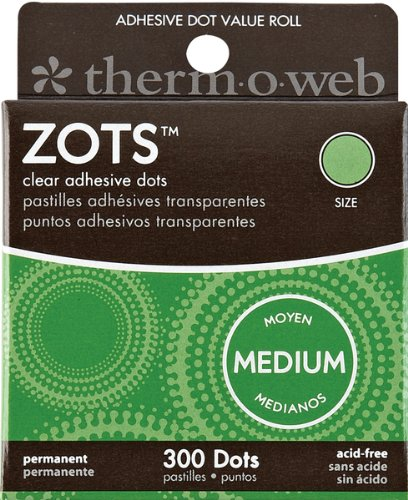 Thermoweb Zots Clear Adhesive Dots, Medium, 3/8-Inch-by-1/64-Inch Thick, 300-Pack