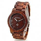 Handmade Real Sandal Wood Men Wrist Wooden Watch W065A Red