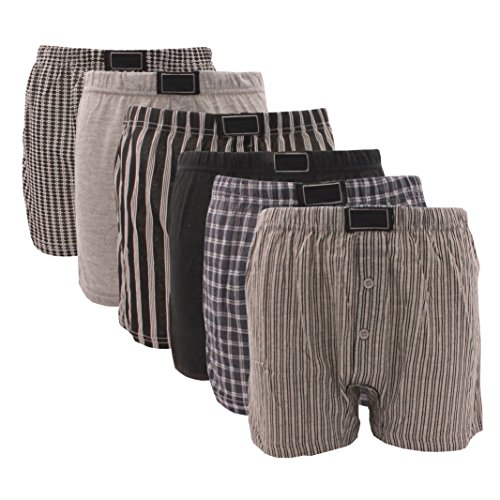 6 x BRITWEAR® Mens Button Fly Jersey Boxer Shorts Natural Cotton Rich Boxers Underwear
