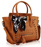 Brown Embossed Skull Black Scarf Twin Handle Tote Designer Handbag (12