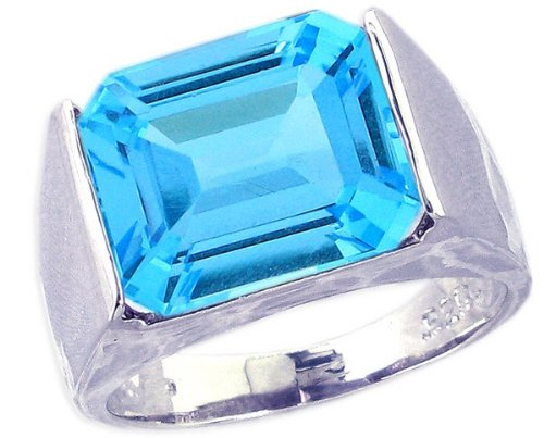 Sterling Silver Cocktail Ring with Large Octagon Genuine Gemstone-Swiss Blue Topaz-in full,half,quarter sizes from 5 to 9_7.75