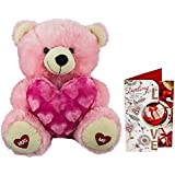 Celebrations Plush Pink Teddy Holding Love N Valentine Card Combo (17 Inch)
