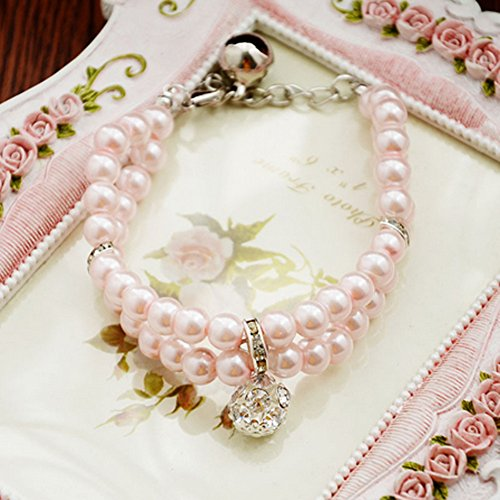 XDOBO 2 Rows Handmade Pink Pearls Rhinestones Pet Necklace Collar with Bling Diamond Fancy Dog Cat Jewelry Necklace L (pink) (Swarovski Crystal Dog Hair Clips compare prices)