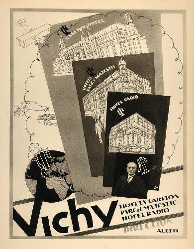 1928 Lithograph Vichy France Carlton Parc Hotel Radio - Original Lithograph