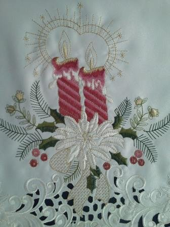 "36"" Christmas Holiday Tree Skirt Embroidered With Victorian Burgundy/Mauve Candles Handmade front-965806"