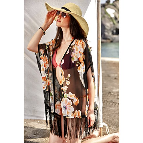 bb5618706f MG Collection Floral Kimono Swimsuit Cover Up, Chiffon Beach Fringe Robe,  Black