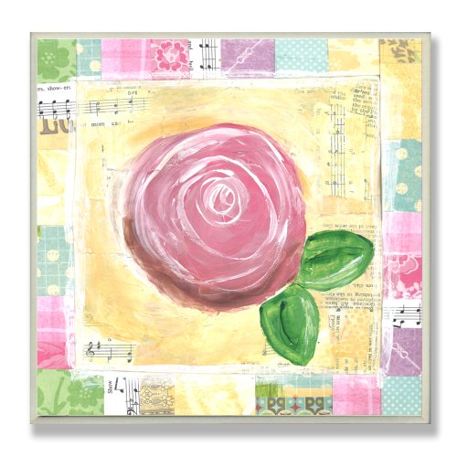 The Kids Room by Stupell Pink Rose with Patchwork Border Square Wall Plaque