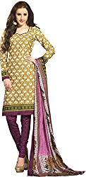 Tripssy Women's Cotton Printed Unstitched Salwar Suit (tr_dm_22, Yellow)