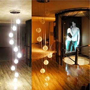 2M Height New 10 Lights Aluminum Wire Glass Balls Stair Pendant