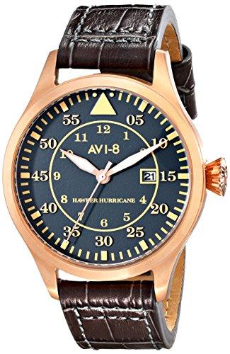 AVI-8 Men's 46mm Brown Calfskin Band Steel Case Quartz Grey Dial Analog Watch AV-4012-06
