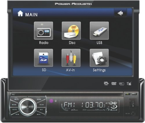 Power Acoustik PTID-8920 In Dash DVD AM-FM Receiver with 7-Inches Flip Out Touchscreen Monitor with USB/SD Input