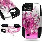 CoverON® Kickstand Hard + Soft Dual Layer Hybrid Case for ZTE Fury / Director / Valet - Pink Spring Flower Design Black Soft Silicone