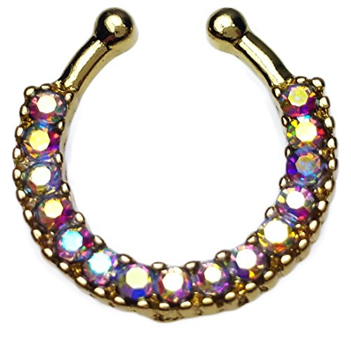 Septum Nose Clicker Ring Gold Aurora Borealis Cubic Zirconia Gem Fake Faux Non Piercing Hanger Jewelry AB (Fake Nose Gem compare prices)