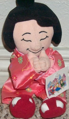 "Retired Disney It's a Small World 10"" Japan Japanese Girl Plush Bean Bag Doll Mint with Tags - 1"