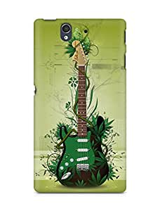 Amez designer printed 3d premium high quality back case cover for Sony Xperia Z (Cool Green Guitar)