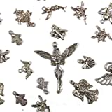 50 Pcs of Antqiue Silver Mix Style Tibetan Style Fairy and Angel Pendants for Necklace and Earring Jewelry Making, Craft Designs