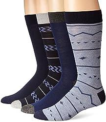 Lucky Men's 4 Pair Pack Fairisle Crew Socks, Denim, 10-13/Shoe Size 6-12