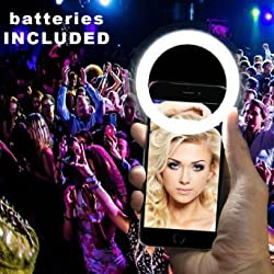 Luvami Selfie Light Ring 32 LED - Batteries Included - Clips on All Smartphones: iPhone 6 plus, 6s, 6, 5s, 5, 4s, 4; Samsung Galaxy S6 Edge, S6, S5, S4, S3 and Note 5, 4, 3, Sony, Motorola - Black