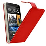 Samrick Specially Designed Leather Flip Case with Credit Card/Business Card Holder, Screen Protector, Microfibre Cloth and High Capacitive Stylus Pen for HTC Desire 310 - Red