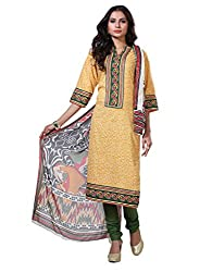 Varanga Yellow Exclusive Printed Dress Material with all over printed dupatta KFHARRA2HSN1005