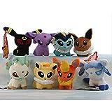 "OliaDesign® Pack Of 8 Pcs Plush Soft Toy Stuffed Animal Figures Poke Doll 5"" Glaceon Leafeon Flareon Espeon Umbreon..."