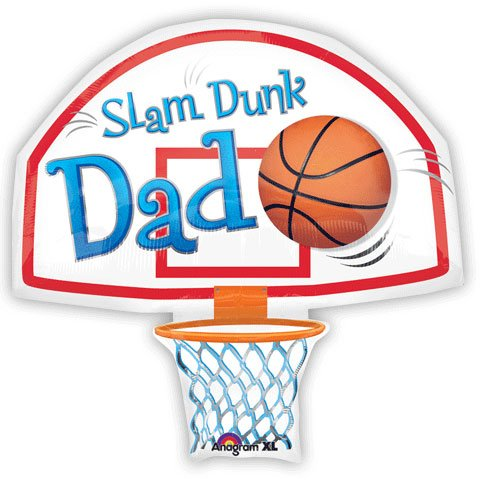 "Slam Dunk Dad Basketball Hoop Shape 26"" Mylar Foil Balloon"