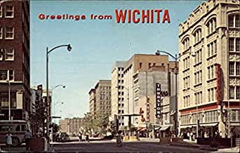 downtown wichita wichita kansas original vintage postcard at amazon 39 s entertainment. Black Bedroom Furniture Sets. Home Design Ideas