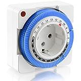 Arendo - 24h mechanische Zeitschaltuhr | 24 Hours Plug in Timer| 96 Schaltsegmente | Schieberegler für Zeitangabe | Status-Anzeige | Schaltknopf für Ein/Auto-Funktion | kompakte/einfache Bedienweise | 3680W | Kinderschutzsicherung